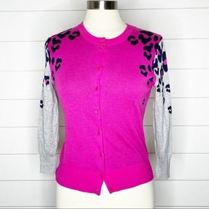 Crown & Ivy Leopard Button Front Cardigan Pink S